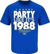 Smack Apparel LA Baseball Fans. I Wanna Party Like It's 1988. Blue T-Shirt (Sm-5X)
