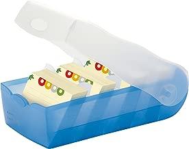 HAN Lernkarteibox CROCO 998-643, DIN A8 quer in Transluzent/Blau/ Karteikasten für regelmäßiges Vokabeln lernen dank 5-Fächer-Lernsystem / Idealer Schulbedarf