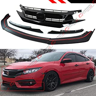 Fits for 2016-2018 10TH Gen Honda Civic FC Front Bumper Spoiler Splitter + RS Style Piano Black Grill Grille