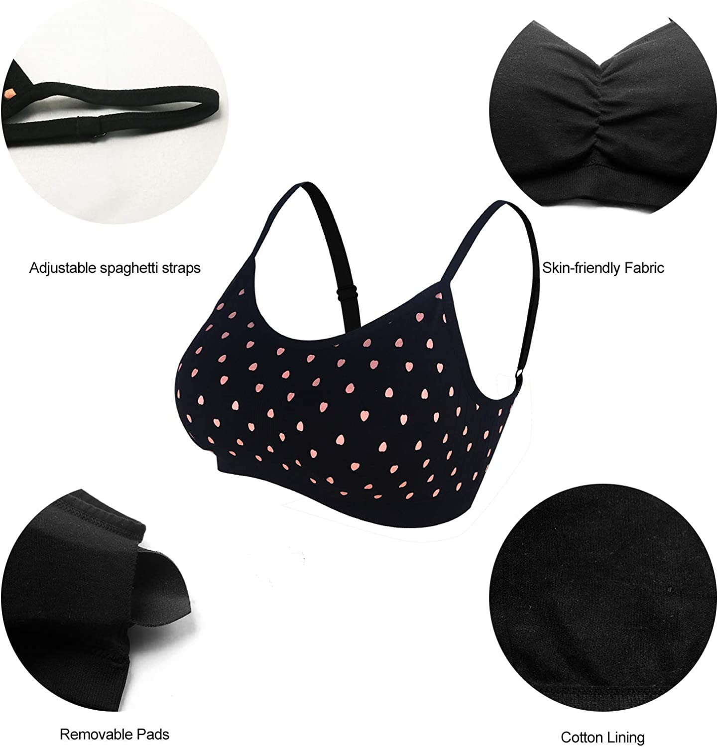 BANG BANG Womens Seamless Sports Bra with Removable Pads Spaghetti Strap Yoga Bras 1-4 Pack