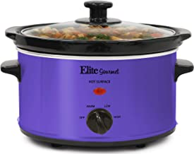 Elite Gourmet MST-275XP Electric Slow Cooker, Adjustable Temp, Entrees, Sauces, Stews & Dips, Dishwasher-Safe Glass Lid & Ceramic Pot, 2Qt Capacity, Purple