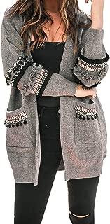 Women Boho Long Sleeve Open Front Knit Cardigan with Pockets Bohemian Knitted Sweater Outwear Coat Tops