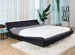 Urest Queen Bed Frame Deluxe Solid Morden Platform Bed with Adjustable Headboard,Faux Leather Bed Frame with Wood Slat Support, Black