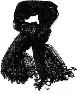 Women's Solid Color Lined Sequin Pattern Lace Scarf Shawl Wrap