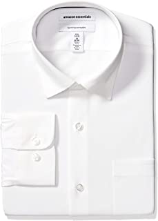 "Amazon Essentials Men's Regular-Fit Wrinkle-Resistant Stretch Dress Shirt, White, 17.5"" Neck 32""-33"" Sleeve"