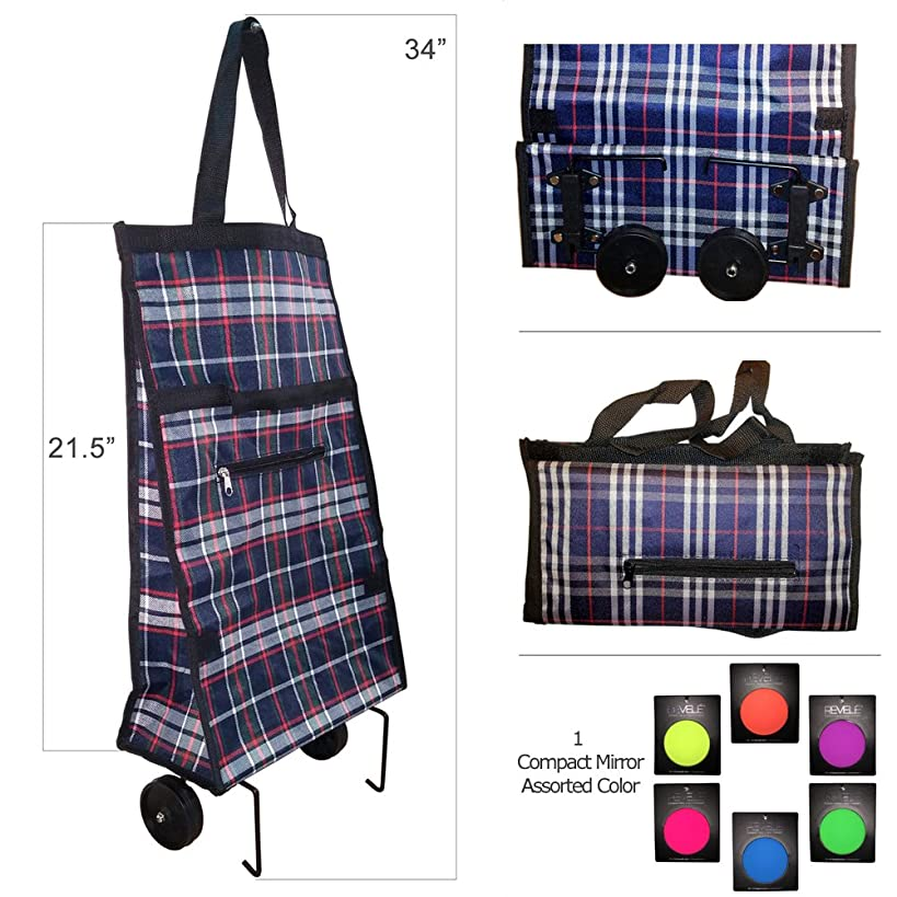 Genesis Folding Shopping Cart Trolley Bag with Wheels with Compact Cosmetic Mirror