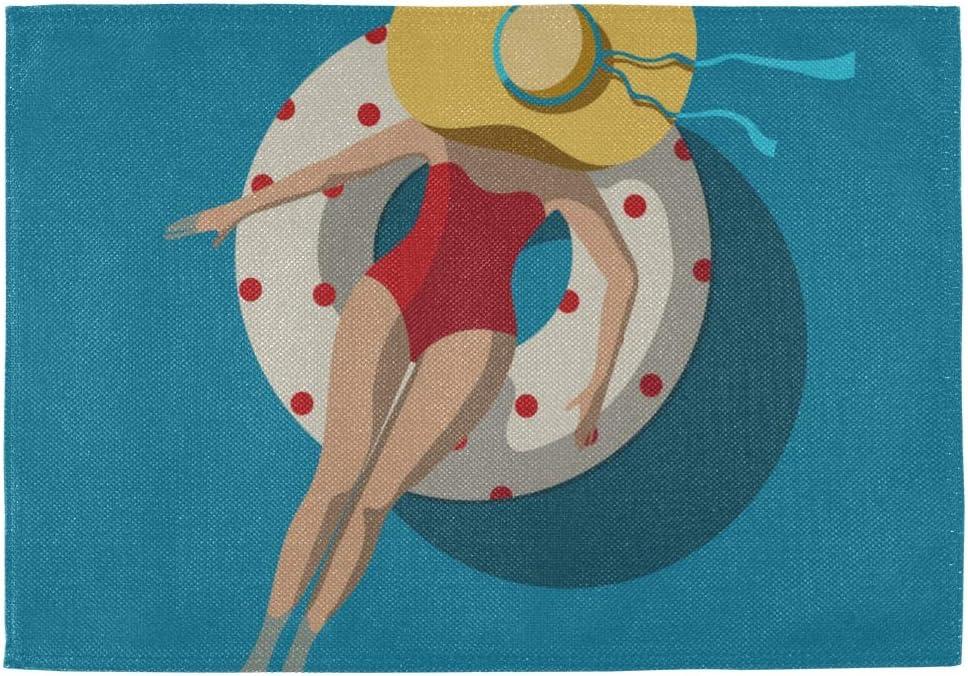 QiyI Modern 訳あり Placemats Beach Girl Summer 送料無料新品 Umbrella Sunbathe 12x18
