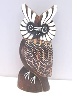 Wooden Owl Hand Carved and Hand Painted Wood Bali Home Decor Sculpture #3189