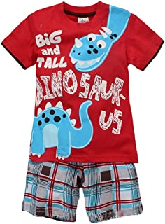 Coralup Toddler Boys Girls Dinosaur Short Sleeve Cotton 2PCS T-Shirt & Shorts Sets