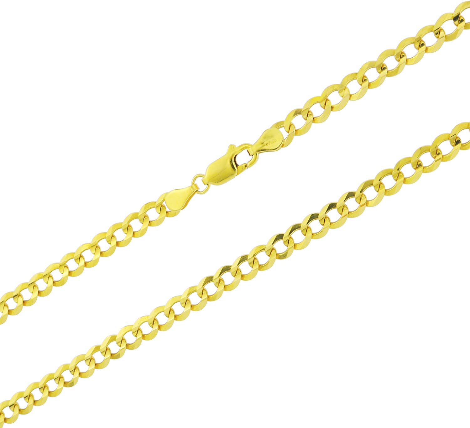 Nuragold 14k Yellow Gold 5mm Solid Cuban Curb Link Chain Pendant Necklace, Mens Womens Lobster Lock 16