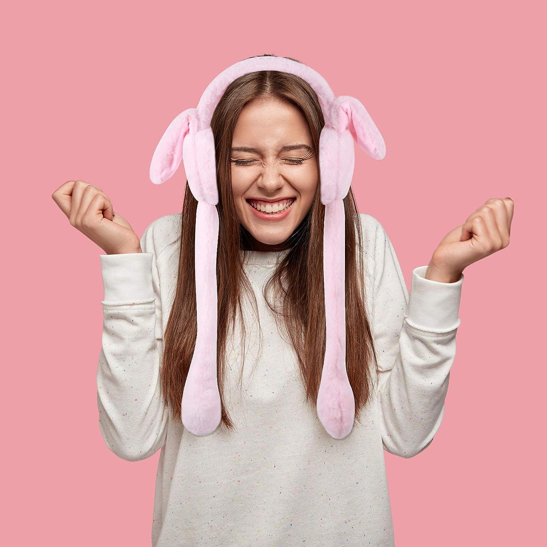 Balacoo Bunny Earmuffs with Moving Jumping Rabbit Ears Fur Earmuffs Cute Rabbit Ear Furry Earmuffs Winter Plush Earwarmer