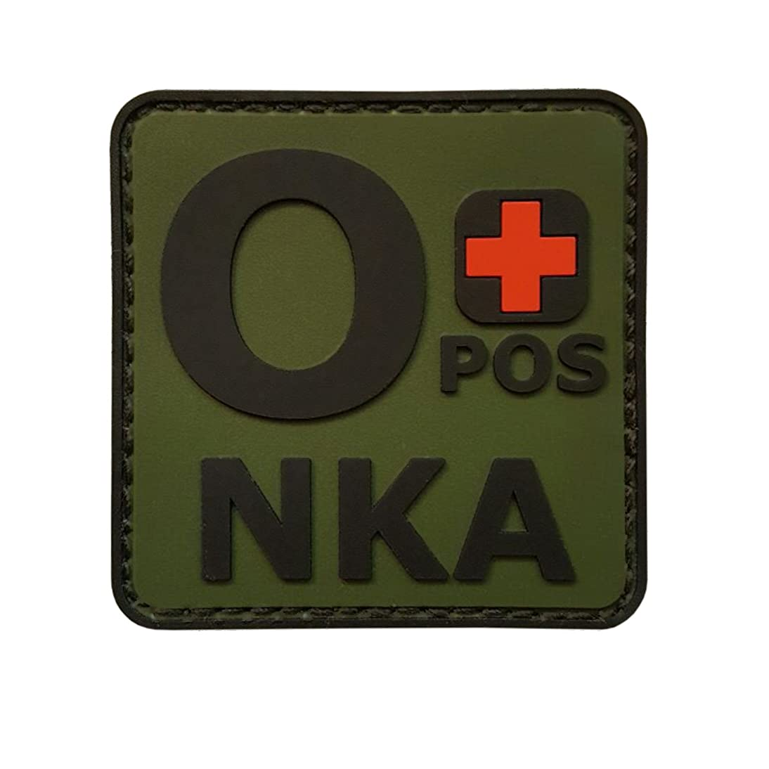 LEGEEON Olive Drab OPOS O+ NKA OD Blood Type No Known Allergies Morale PVC Rubber Fastener Patch ahzl362628452657