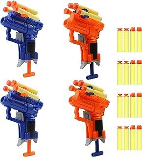 4 Pack Mini Foam Dart Toy Guns Foam Guns,Blaster Gun Toy with 16 Small Size Foam Darts, Great Sport Party Favors Spring Powered Gun Kit (4 Pack Foam Guns with 16 Small Size Darts)