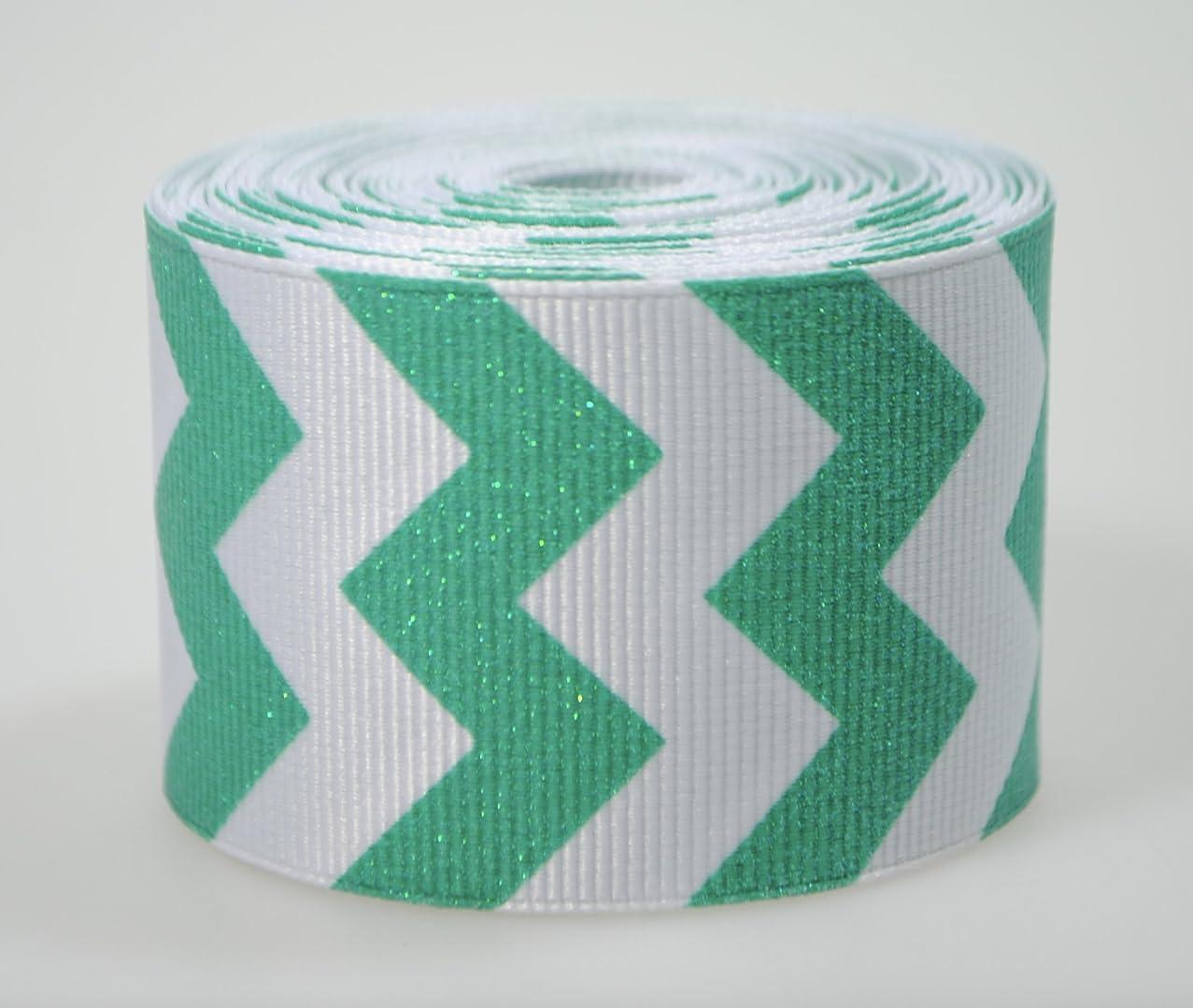 Glitter Chevrons Print Grosgrain Ribbon (5 yards, 1.5