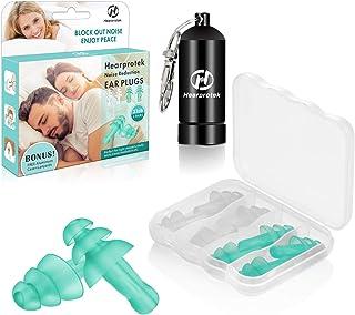 Hearprotek Bouchons d'oreilles pour dormir, 4 paires de bouchons d'oreilles réutilisables, protection auditive pour dormeu...