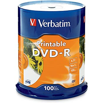 Verbatim DVD-R 4.7GB 16X White Inkjet Printable - 100pk Spindle