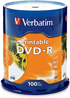 Verbatim DVD-R 4.7GB 16X White Inkjet Printable - 100pk Spindle, 100-Disc (95153)