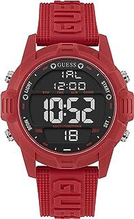 GUESS Mens Quartz Watch, Digital Display and Silicone Strap W1299G3