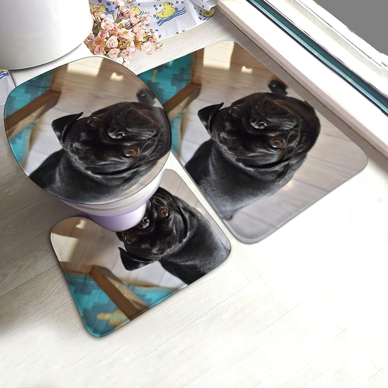 Black Pug Dog In stock Puppy Printed Set 3 Mat Contour + Portland Mall Bath Piece Mat+U