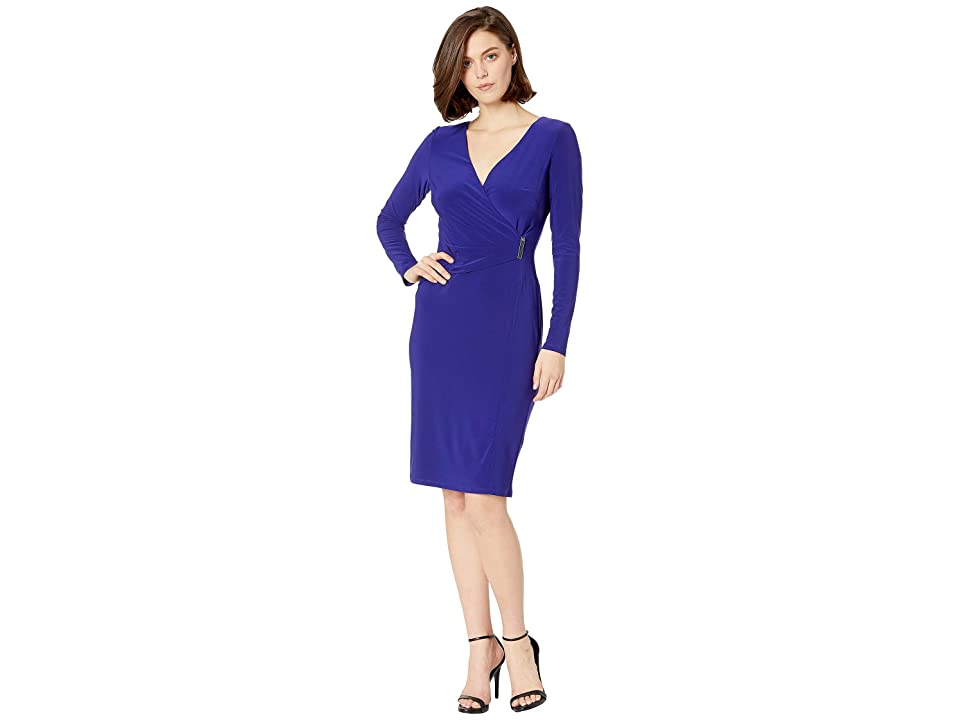 LAUREN Ralph Lauren 1T Matte Jersey Phebe Long Sleeve Day Dress (Cannes Blue) Women