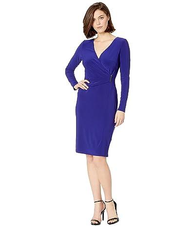 LAUREN Ralph Lauren 1T Matte Jersey Phebe Long Sleeve Day Dress (Cannes Blue) Women
