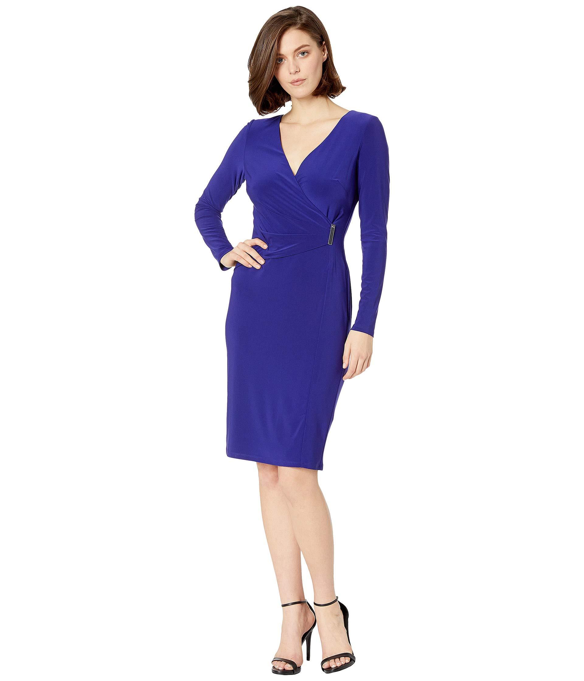 Day Cannes Blue Matte Phebe Lauren Dress Ralph 1t Long Jersey Sleeve Aqxnna0zHw