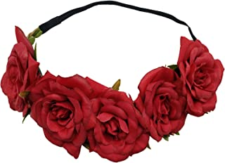 Sanrich Rose Flower Crown Fake Flower Crowns Headbands For Women Girl Rose Floral Head Piece Maternity Photoshoot Realistic Hair Crown Pet Headband Flower Wreath (red)