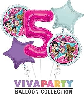 LOL Round Balloon Bouquet 5 pc, 5th Birthday, Hot Pink Number 5 Jumbo Balloon | Viva Party Balloon Collection