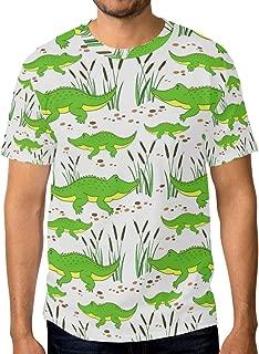 Cartoon Little Crocodile Men's Crew Neck Short Sleeve T-Shirt