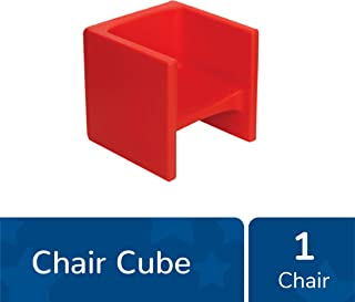 """Children's Factory Cube Chair, 15"""" by 15"""" by 15"""" – Red – Versatile - Use as a Low or High Chair, Table and Adult Seat – Durable and Lightweight – Indoor or Outdoor Use (CF910-008)"""