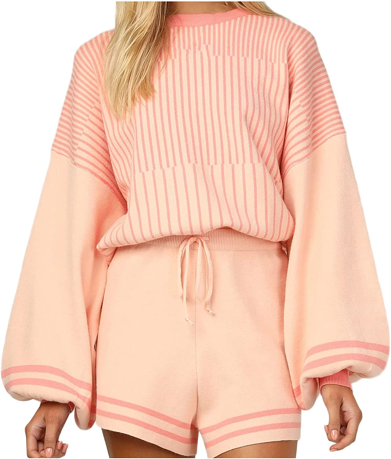 Womens Hoodies Pullover Sexy Solid Color Sweater Short Suit Long Sleeve Fall Maxi Casual Home Pajamas Set