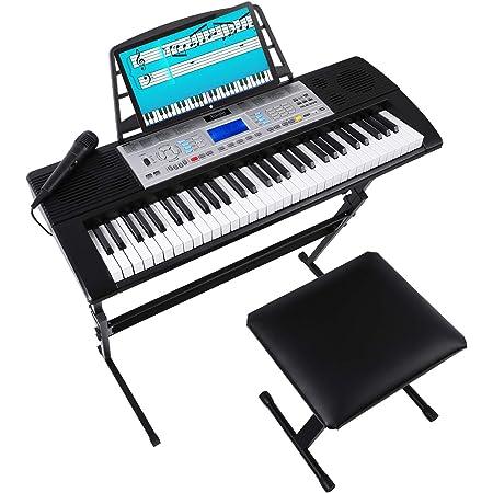 Mugig MLS-939 Kit de Piano Electrico de 61 Teclas con Pantalla LCD multifunción, Soporte del Teclado, Taburete del teclado, micrófono y soporte para ...