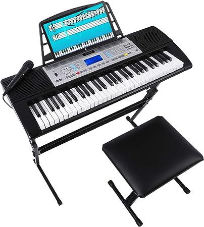Teclado musical, 61 teclado, kit de piano, teclados electrónicos con 61 teclas, una pantalla LCD multifunción, taburete, soporte, micrófono