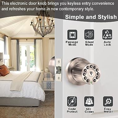 IULOCK Code Door Lock, Electronic Keypad Door knob with Key, Auto Lock ,Easy to Use and Install for Office/Warehouse/Bedroom