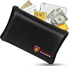 Fireproof Money Safe Document Bag. NON-ITCHY Silicone Coated Fire & Water Resistant..