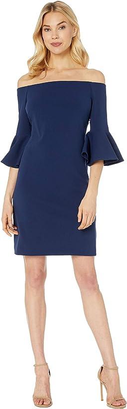 Bell Sleeve Off the Shoulder Crepe Ponte Dress