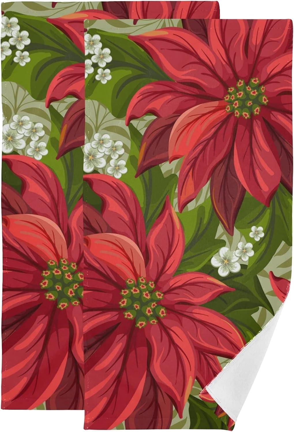 Towel Fees free Set Wonderful Poinsettia Christmas Lar 2021 autumn and winter new Flowers Towels Bath