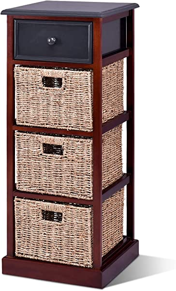 Giantex Nightstand W 1 Drawer And Baskets Bins Wooden Frame Bedside Sofa Table Organizer Home Bedroom For Living Room Storage Organizer Shelf Cubbies Furniture Red Brown End Table 37 4 H