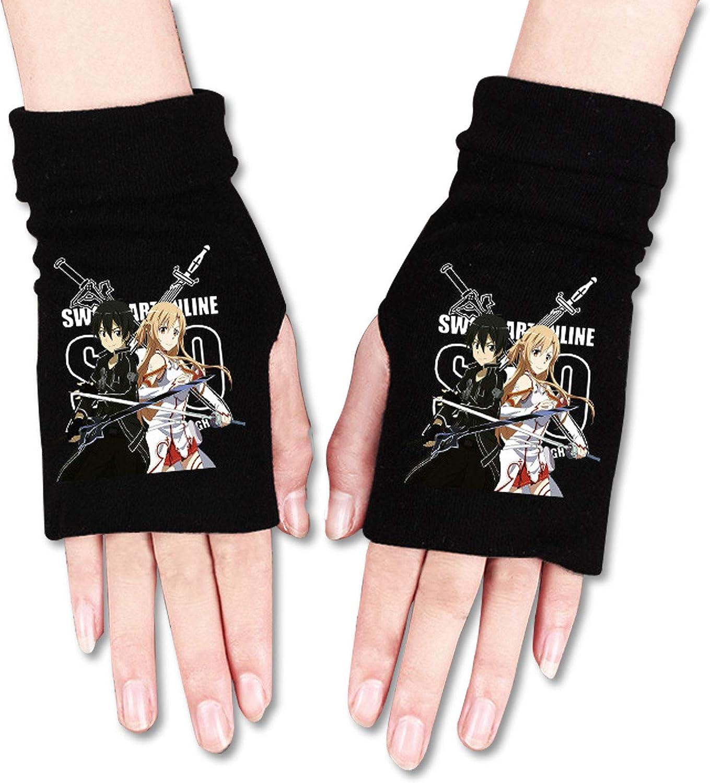 Anime element half finger gloves, fingerless gloves, winter knitted warm gloves for men and women