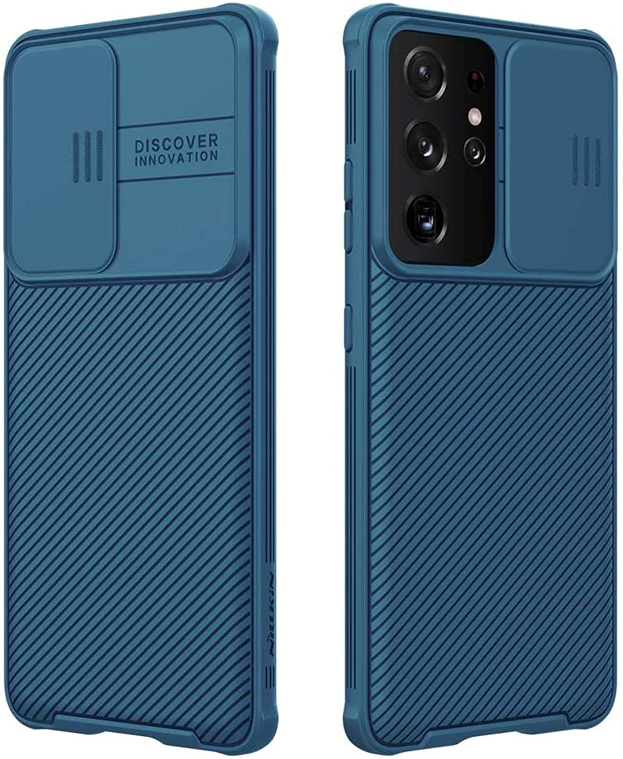 CloudValley for Samsung Galaxy S21 Ultra Case with Camera Cover, Full-Body Protective & Slim Fit, Camera Protection Case Only for Samsung Galaxy S21 Ultra 5G 6.8 inch (2021 Release)-Blue