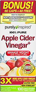 Purely Inspired, Apple Cider Vinegar 750 mg, Lose Weight with Green Coffee, 100 Easy-to-Swallow Veggie Tablets (Packaging ...