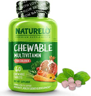 NATURELO Chewable Multivitamin for Children - with Natural Vitamins & Minerals, Whole Food Extracts, Organic Fruit - Vegan...