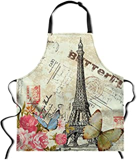 chaqlin Adjustable Aprons Eiffel Tower Design Women Kitchen Apron Cooking, Baking, Crafting, Gardening,BBQ