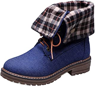 MisaKinsa Women Casual Ankle Boots Low Heels Martin Boots
