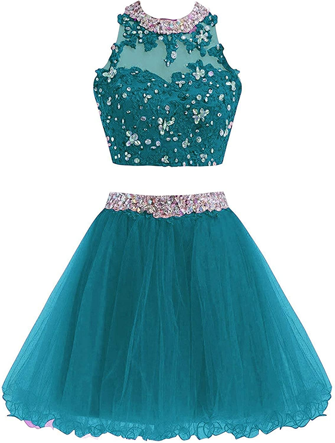 Cdress Two Piece Lace Beads Bodice Short Junior Homecoming Dresses Applique Prom