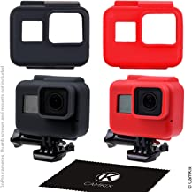CamKix Silicone Sleeve Cases Compatible with The Frame Gopro Hero 7/6 / 5-2 Protective Covers - Black/Red - Protection for...