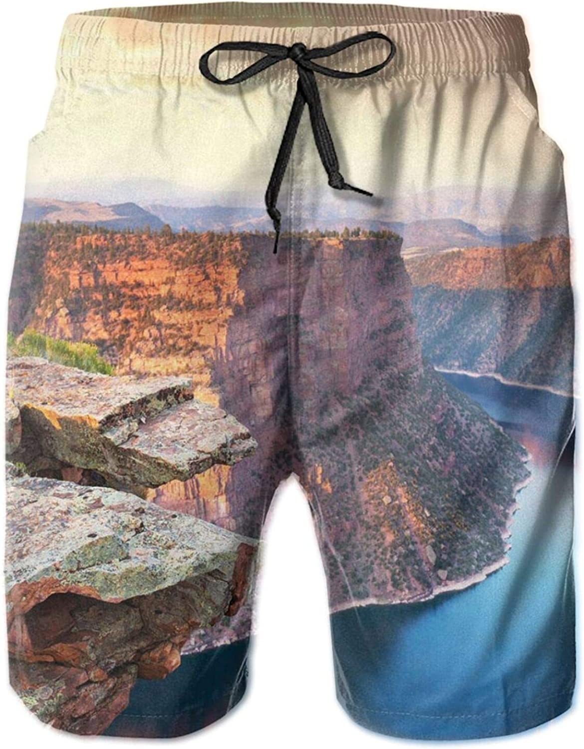 Aerial Vista Photo of Flaming Gorge National Recreation Area Panorama at Sunset Drawstring Waist Beach Shorts for Men Swim Trucks Board Shorts with Mesh Lining,L