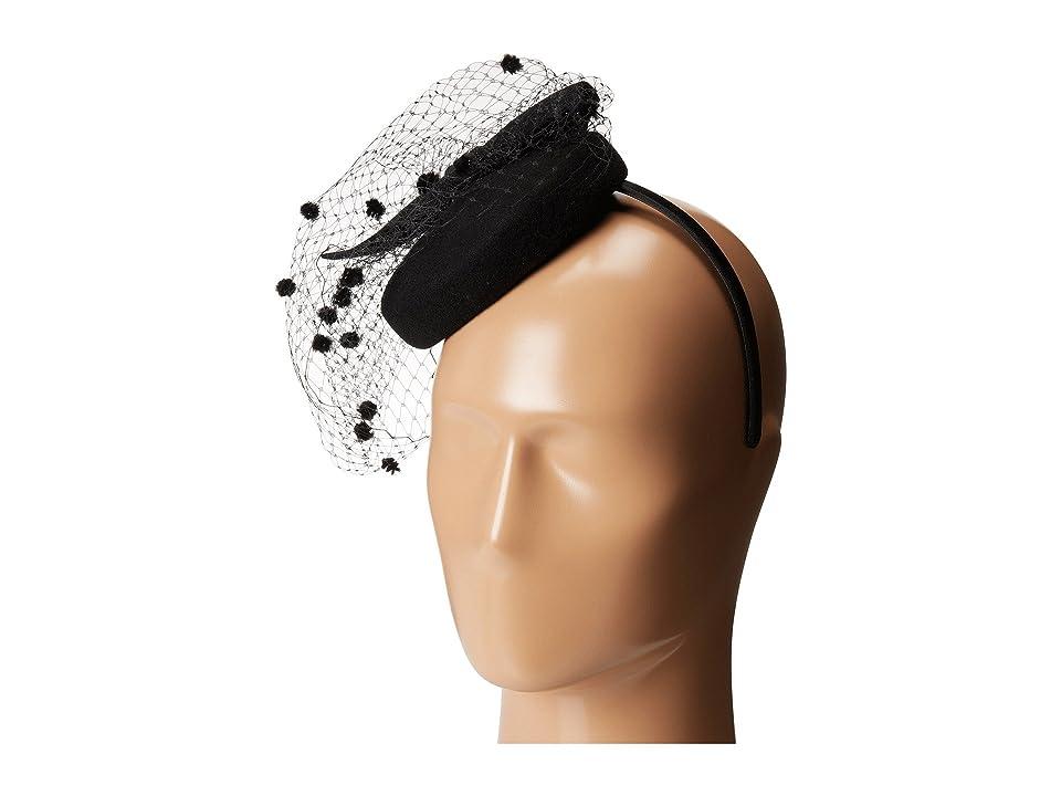 SCALA Wool Felt Fascinator with Bow (Black) Caps