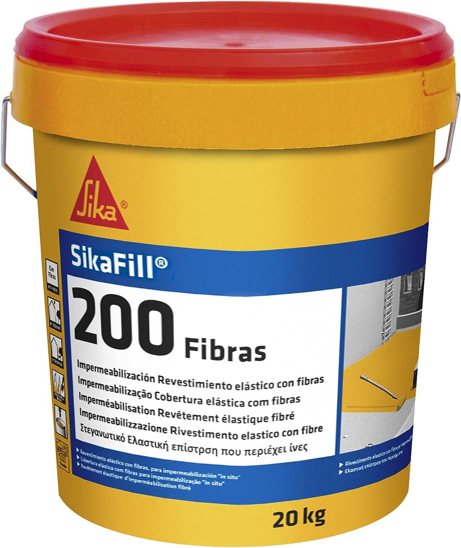 SikaFill 200 Fibras, Rojo teja, Pintura acrílica con fibras de vidrio para impermabilización de cubiertas visitalbles y protección de pareces medianeras, 20kg