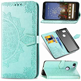MEUPZZK Google Pixel 3a (Not Fit Pixel 3) Wallet Case, Sun Flower Embossed Premium PU Leather Kickstand Flip Cover Card Holders & Hand Strap Wallet Case for Google Pixel 3a 5.6 Inch Mint Green